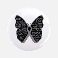 """Butterfly Brain Cancer Ribbon 3.5"""" Button"""
