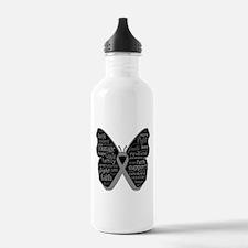 Butterfly Brain Cancer Ribbon Water Bottle
