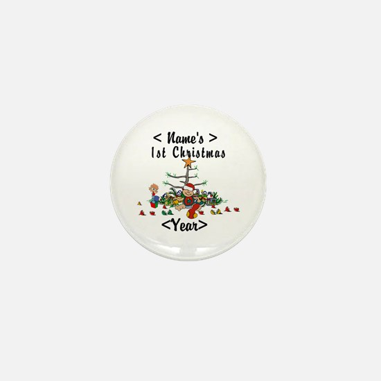 Personalize 1st Christmas Mini Button
