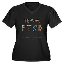 Team PTSD Women's Plus Size V-Neck Dark T-Shirt
