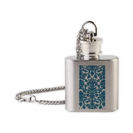 Damask Pattern Blue Flask Necklace