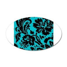 Turquoise and Black Damask Wall Sticker