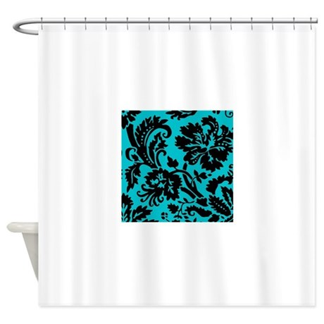 Turquoise And Black Damask Shower Curtain By Admin CP49789583