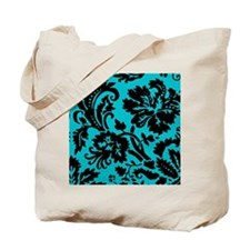 Turquoise and Black Damask Tote Bag