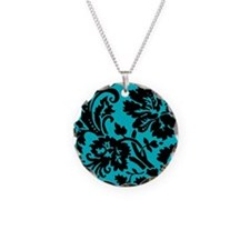 Turquoise and Black Damask Necklace