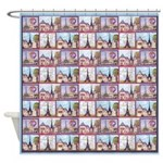 Paris Eiffel Tower Lt Blue Repeat Shower Curtain