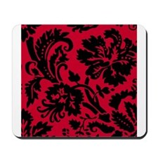 Red and Black Damask Mousepad