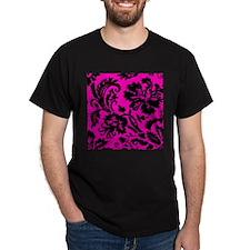 Hot Pink and Black Damask T-Shirt