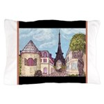 Paris EIffel Tower landscape black aceent Pillow C