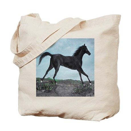 Painted Black Beauty Horse Tote Bag