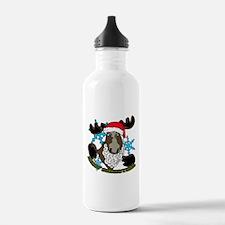 Santa moose Water Bottle