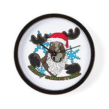 Santa moose Wall Clock