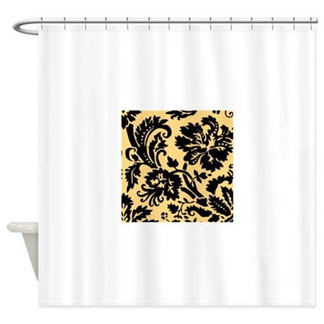 yellow and black damask shower curtain by admin cp49789583. Black Bedroom Furniture Sets. Home Design Ideas