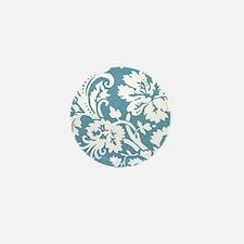 Blue and White Damask Mini Button