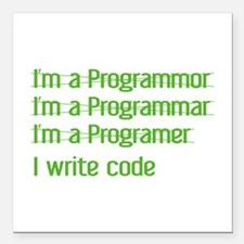 "I Write Code Square Car Magnet 3"" x 3"""
