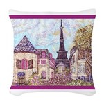 Paris Eiffel Tower pointillism berry Woven Throw P