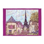 Paris Eiffel Tower pointillism berry 5'x7'Area Rug