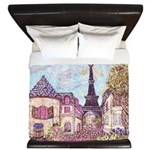 Paris Eiffel Tower pointillism berry King Duvet