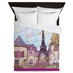 Paris Eiffel Tower pointillism berry Queen Duvet