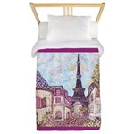 Paris Eiffel Tower pointillism berry Twin Duvet