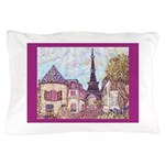 Paris Eiffel Tower pointillism berry Pillow Case