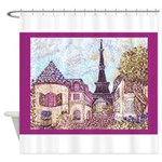 Paris Eiffel Tower pointillism berry Shower Curtai