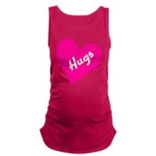 Hugs white letters on pink hear Maternity Tank Top