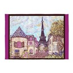 Paris Eiffel Tower pointillism berry brown 5'x7'Ar
