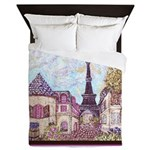 Paris Eiffel Tower pointillism berry brown Queen D