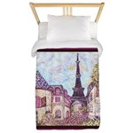 Paris Eiffel Tower pointillism berry brown Twin Du