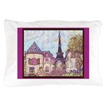 Paris Eiffel Tower pointillism berry brown Pillow