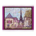 Paris Eiffel Tower pointillism berry brown Throw B
