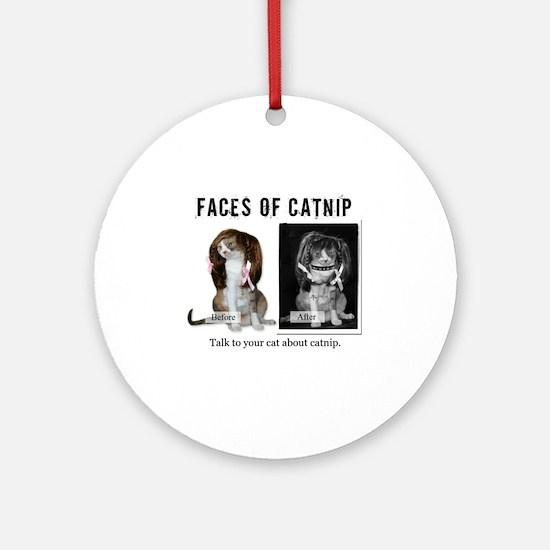 Faces of Catnip 2 Round Ornament