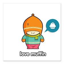 """Love Muffin ORA-PNK Square Car Magnet 3"""" x 3"""""""