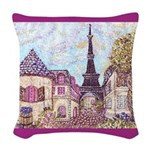 Paris Eiffel Tower pointillism berry square Woven