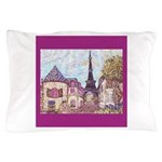 Paris Eiffel Tower pointillism berry square Pillow