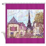 Paris Eiffel Tower pointillism berry square Shower
