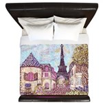 Paris Eiffel Tower pointillism berry brown square