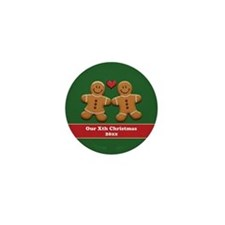 Personalize Gingerbread Couple Mini Button