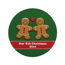 "Personalize Gingerbread Couple 3.5"" Button"