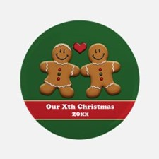 """Personalize Gingerbread Couple 3.5"""" Button"""