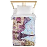 Paris Eiffel Tower pointillism berry for rug Twin