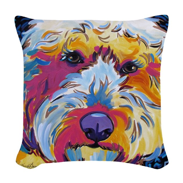 Throw Pillow Doodle : Sunshine The Doodle Woven Throw Pillow by karrengarces