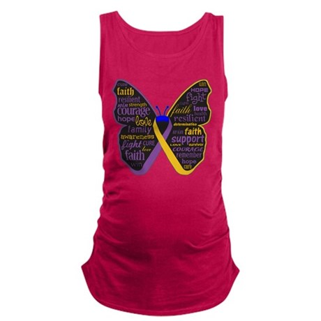 Butterfly Bladder Cancer Ribbon Maternity Tank Top