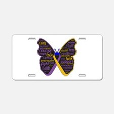 Butterfly Bladder Cancer Ribbon Aluminum License P