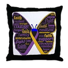 Butterfly Bladder Cancer Ribbon Throw Pillow