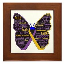 Butterfly Bladder Cancer Ribbon Framed Tile