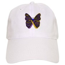 Butterfly Bladder Cancer Ribbon Baseball Cap
