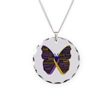 Butterfly Bladder Cancer Ribbon Necklace