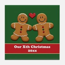 Personalize Gingerbread Couple Tile Coaster